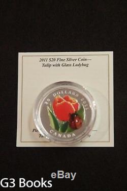 2011 Monnaie Royale Canadienne 20 $ En Argent Fin Coin Tulipe Avec Coccinelle, En Verre De Murano