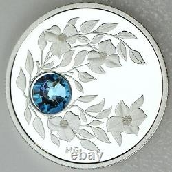 2012 $3 Mars Naissance Pierre Aquamarine Pure Silver Proof Coin, Swarovski Cristal