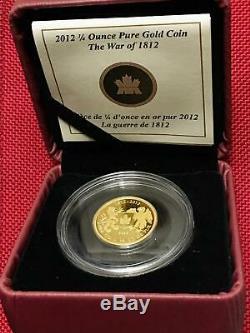 2012 Canada 1/4 Oz Pur Gold'the Guerre De 1812' Pièce De 10 $ 2000 Boîte Mintage / Coa