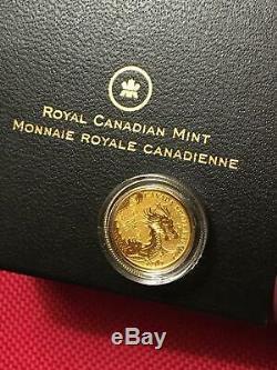 2012 Canada Gold'year Pur Du Calendrier Dragon ' Lunar 5 $ Coin Boxed & Coa