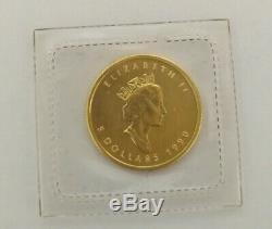 2012 Et 1990 1/10 Oz D'or Feuille D'érable Pièce De 5 $ 9999 Seal A Ouvert À La Fois Package