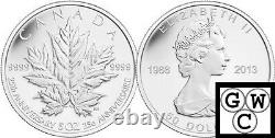 2013 5oz Proof $50 25th Ann Of The Silver Maple Leaf Silver Coin. 9999 (13143)