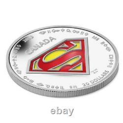 2013 Canada 20 $ 75e Anniversaire Superman 1 Oz. 9999 Silver Coin The Shield Comic