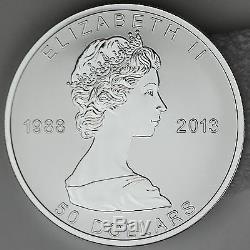 2013 Maple Leaf 5 Oz 50 $ Preuve Argent Pur Inversée 25e Anniversaire, Seulement 2500