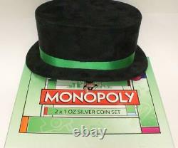 2013 Niue Monopoly 2x 1oz Silver Coin Set Nouvelle-zélande Mint Hasbro Tophat Display