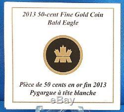 2013 Pygargue À Tête Blanche 99,99% D'or Pur Proof 50 Cents, Troy 1/25 Oz, Un-recherche