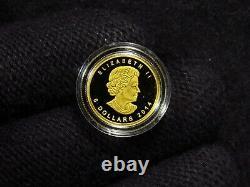 2014 1/10 Oz Canada Gold Elephant. 9999 Amende En Cap (1 Pièce)