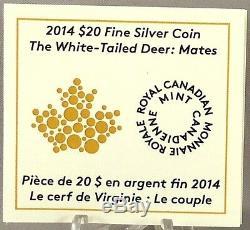 2014 $ 20 Cerf De Virginie Mates, 1 Oz Preuve En Argent Pur Coin, # 3 En Série