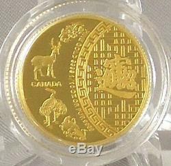 2014 5 $ Cinq Bénédictions, Symbole Chinois De Souhaits Good Fortune 1/10 Oz D'or Pur