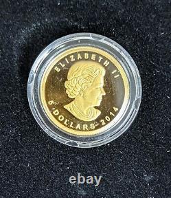 2014 $5 Gold Rcm Mammoth Laine 1/10 Oz Proof Coin Box + Coa Mintage 3000