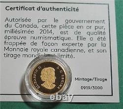2014 Canada 5 Dollars 1/10 Oz 9999 Or Canadian Bald Eagle 359,00 $