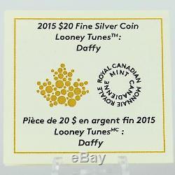 2015 20 $ Looney Tunes Daffy Duck Et Elmer Fudd 1 Oz 9999 Couleur Argent Pur Proof