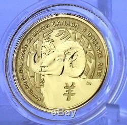 2015 5 $ Année Du Mouton, 1/10 Onces. L'or Pur Spécimen Coin, Canada Bighorn
