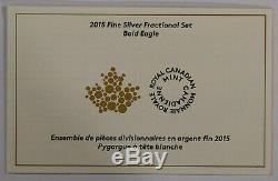 2015 Argent Monnaie Royale Du Canada Fractionnaires Ensemble Pygargue À Tête Blanche 4 Coins Total Coa Box