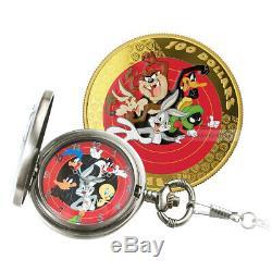 2015 Bugs Bunny Et Looney Tunes Friends Montre De Poche Et 14k Gold Coin