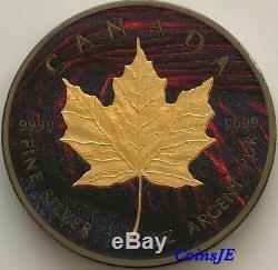 2015 Canada $ 5 Maple Leaf Lava Édition Gilded & Ruthenium 1 Oz 999 Silver Coin