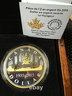 2015 Canada Voyageur Renouvelé Argent Pur Dollar 2 Oz Proof 1 $ Masters Club