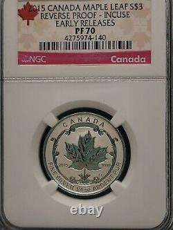 2015 Ngc Pf 70 Incuse Inverse Proof Canada (5 Pièces) Silver Maple Leaf 5 $