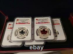 2015 Ngc Pf 70 Incuse Reverse Proof Canada (5 Coin Set) Silver Maple Leaf 5 $