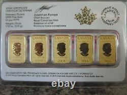 2016 1/10 Oz 25 $ Barres D'or, La Monnaie Royale Canadienne, 5 Dans Un Emballage, Jamais Ouvert