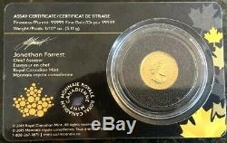 2016 1/10 Oz D'or Canadien Grognement Cougar Coin (bu Avec Assay)