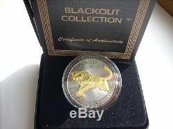 2016 1 Oz Pièce D'argent Cougar Collection Canadienne Blackout Noir Ruthéniée 24kt