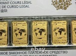 2016 25 $ Or 1/10e Bars Royal Canadian Mint (5 Bars) Sealed #rp Ecc&c, Inc