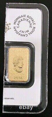 2016 25 $ Royal Canadian Mint Gold Bar Coin 1/10 Oz, 24kt. 9999