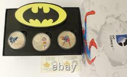 2016 Canada 20 $ 3x Coin Set 1oz. 9999 Silver Superman Wonder Woman Batman DC