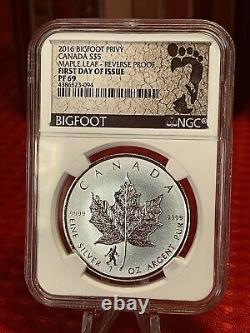 2016 Canada Mene Leaf Proof Bigfoot Privy Ngc 69 Rare 1oz. 9999