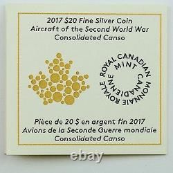 2017 $20 Avions De La Seconde Guerre Mondiale Consolidated Canso Pure Silver Proof