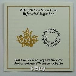 2017 20 $ Bugs Bejeweled Bee 1 Oz Preuve En Argent Pur Coin Avec Pierres Précieuses