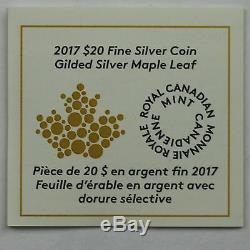 2017 20 $ En Argent Doré Feuille D'érable En Forme De 1 Oz Or Plaqué Argent Pur Coin