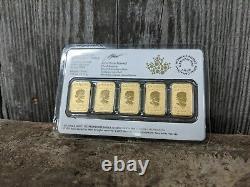 2017 Monnaie Royale Canadienne 1/10 Oz Gold Bar 25 $ Ensemble De 5 Pièces