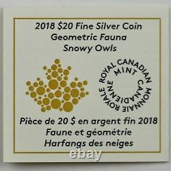 2018 $20 Geometric Fauna Snowy Owls, 1 Oz 99.99% Pure Silver Color Proof