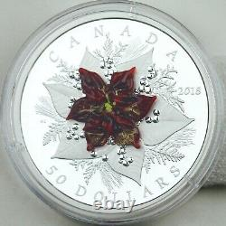 2018 $50 Holiday Splendor, 5 Oz Pure Silver Coin With Murano Glass Poinsettia