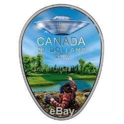 2018 Canada 20 $ Ufo Glow-in-the-dark Falcon Lake Incident Proof Silver Coin