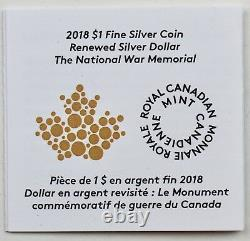 2018 Renouvelé 1 $, National War Memorial Masters Club 2 Oz Pure Silver Proof Coin