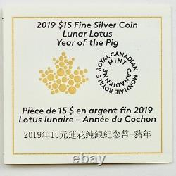 2019 $15 Year Of The Pig Chinese Lunar Zodiac, Lotus Shaped Pure Silver Proof