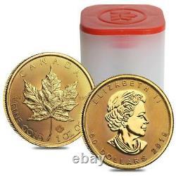 2019 Canada 1 Oz D'or Feuille D'érable 50 $ Monnaie Monnaie Royale Canadienne. 9999 Or Pur