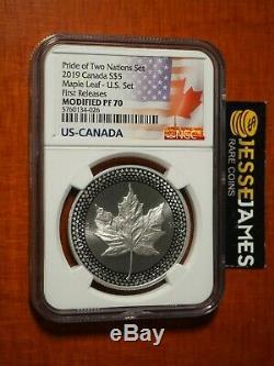 2019 Canada A Modifié En Argent Épreuve Numismatique Maple Leaf Ngc Pf70 De Pride Of Nations Set