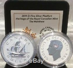 2019 Matthew Patrimoine Monnaie Royale Canadienne 1 $ Silver Proof Dollar Piedfort Coin