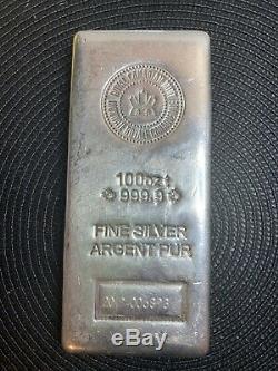2019 Monnaie Royale Canadienne 100 Troy Onces. 9999 Silver Bar Sku006893