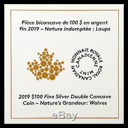 2019 Rcm Argent $ 100 Chambres Doubles Concave Nature Sku Wolves Grandeur # 185329