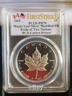 2019 Rcm Pride Of Two Nations 2 Ensemble De Pièces Pcgs Pr70 (fs) Monnaie Royale Canadienne