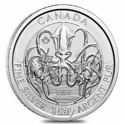 2020 2 Onces De Créatures Canadiennes De La Série Nord Le Kraken. 9999 Pièce D'argent Bu