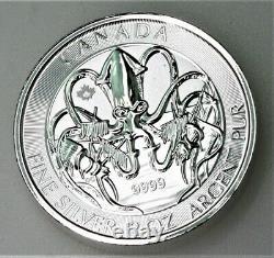 2020 2 Oz Créatures Royales Canadiennes Du Nord Le Kraken. 9999 Pièce D'argent Bu