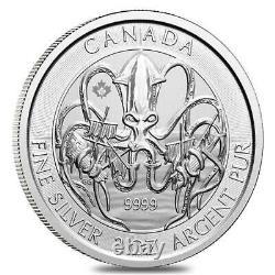 2020 2 Oz Les Créatures Royales Canadiennes De La Série Nord La Pièce D'argent Kraken Bu