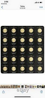 2020 25 X 1 Gramme Monnaie Royale Canadienne Maplegram. 9999 Or Maple Leafs (dans Le Test)