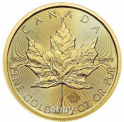 2020 50 $ D'or Feuille D'érable Canadienne. 9999 1 Oz Brillant Non Circulé